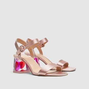 Zara satin sandal with embellished heel. NWT